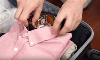 איך לארוז את פריטי הלבוש בצורה קומפקטית ונוחה לתוך המזוודה