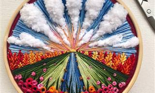 16 יצירות רקמה שמציגות נופים יפהפיים של האמנית Sew Beautiful