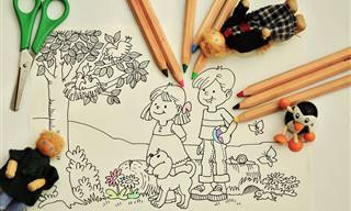 24 דפי צביעה לילדים עם דמויות אהובות וחיות