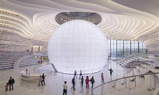 תמונות מן הספרייה העתידנית שנחנכה בעיר טיינג'ין, סין