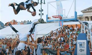מיטב הפעלולים מתחרות הטבעות כדורסל אקרובטית וסוחפת במיוחד!