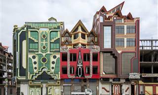 סדרת תמונות צבעונית של בתים בעיר אל אלטו, בוליביה