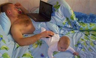 רגעים מצחיקים של אבות ששומרים על ילדיהם