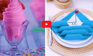 סרטון עם 14 רעיונות לעיצובי מפיות מקוריים