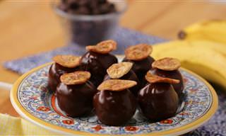 מתכון לטראפלים מעוגת בננה וגבינת שמנת בציפוי שוקולד