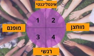 בחן את עצמך: <b>איזה</b> מ-4 סוגי האישיות הבאים הכי <b>מתאים</b> לך?