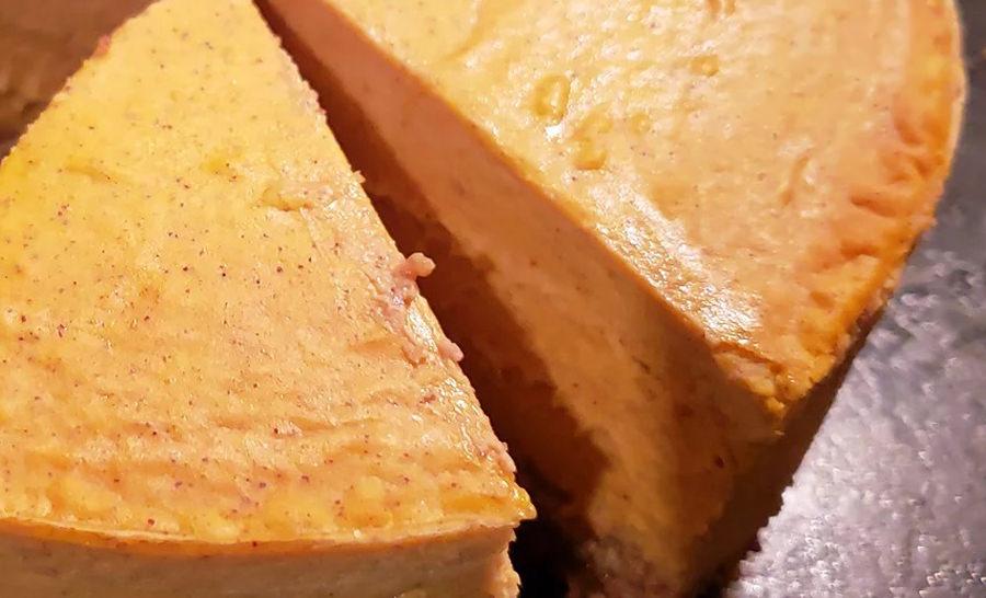 עוגת גבינה-דלעת עם קרום שקדים-פקאן