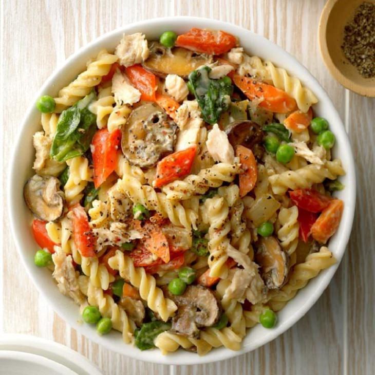 מתכון לתבשיל טונה, פסטה וירקות