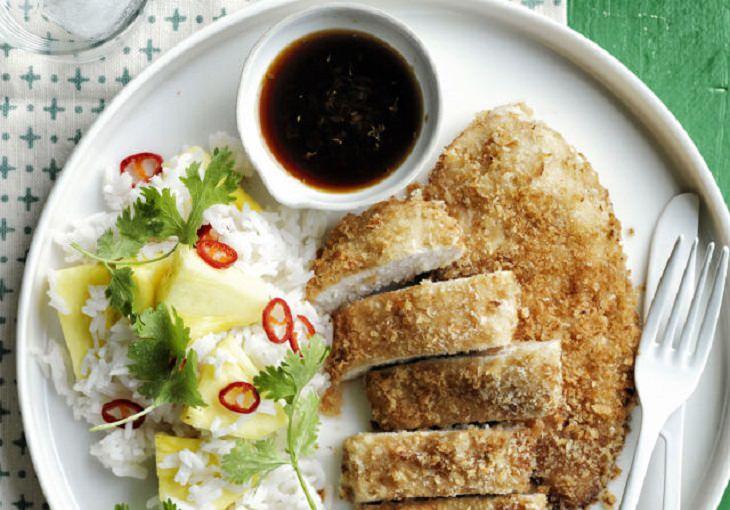 מתכון לשניצל עוף אפוי עם אורז ואננס